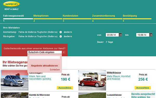 Sunny Cars Gutschein-Feld